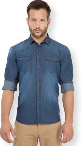 Highlander Men's Solid Casual Denim Dark Blue Shirt