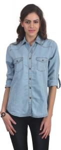 Funku Fashion Women's Solid Casual Denim Light Blue Shirt