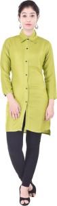 Desier Women's Solid Formal Light Green Shirt