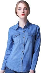 Farha Women's Solid Casual Denim Light Blue Shirt