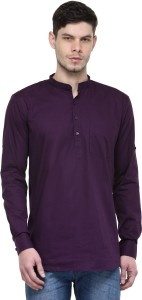 FabTag - Being Fab Men's Solid Casual Purple Shirt