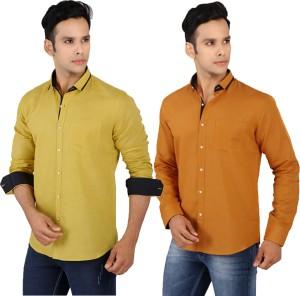 R'Squarre Men's Solid Casual Linen Light Green, Brown Shirt