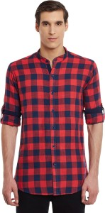 Wild Hunk Men's Checkered Casual Red Shirt