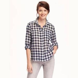 AV Collection Women's Checkered Casual White Shirt