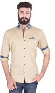 Vintage Soul Men's Solid Casual Beige Shirt