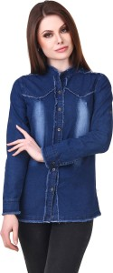 Clo Clu Women's Solid Casual Denim Dark Blue Shirt