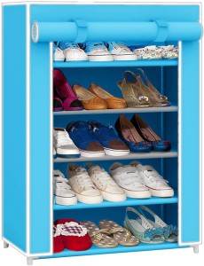 Pindia Fancy Layer Sky Blue Shoe Rack Organizer Polyester Collapsible Shoe Stand