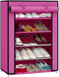 Pindia Fancy Layer Pink Shoe Rack Organizer Polyester Collapsible Shoe Stand
