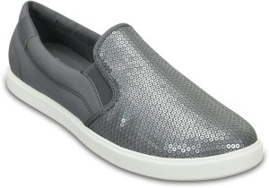 9372484842cabd Crocs CitiLane Sequin Boat Shoes Silver Best Price in India