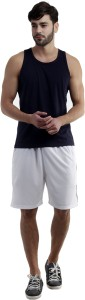 Dee Mannequin Self Design Men's White Sports Shorts