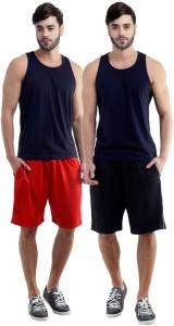Dee Mannequin Self Design Men's Red, Black Sports Shorts