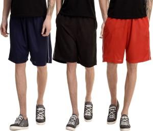 Dee Mannequin Solid Men's Red, Dark Blue, Black Basic Shorts