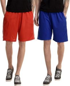 Dee Mannequin Solid Men's Red, Blue Basic Shorts