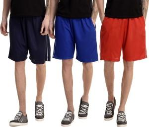 Dee Mannequin Solid Men's Red, Dark Blue, Blue Basic Shorts