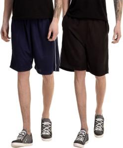 Dee Mannequin Solid Men's Dark Blue, Black Basic Shorts