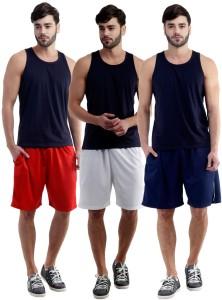 Dee Mannequin Self Design Men's White, Red, Dark Blue Sports Shorts