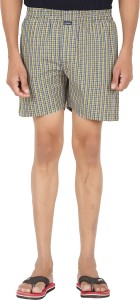 All Times Checkered Men's Yellow Boxer Shorts