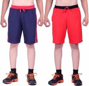 DFH Solid Men's Blue, Red Basic Shorts, Beach Shorts, Running Shorts, Night Shorts, Gym Shorts, Sports Shorts