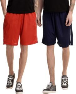 Dee Mannequin Solid Men's Red, Dark Blue Basic Shorts