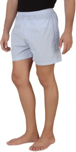 Mind The Gap Checkered Men's Blue Boxer Shorts