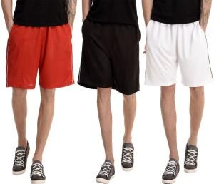 Dee Mannequin Solid Men's White, Red, Black Basic Shorts