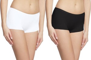 69GAL Solid Women's Black, White Compression Shorts