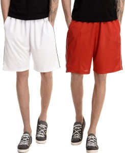 Dee Mannequin Solid Men's White, Red Basic Shorts