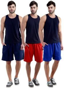 Dee Mannequin Self Design Men's Red, Dark Blue, Blue Sports Shorts