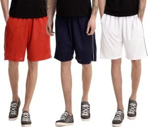 Dee Mannequin Solid Men's White, Red, Dark Blue Basic Shorts