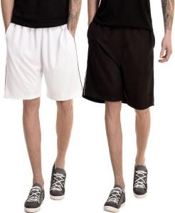 Dee Mannequin Solid Men's White, Black Basic Shorts