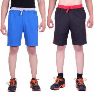 DFH Solid Men's Black, Light Blue Basic Shorts, Beach Shorts, Running Shorts, Night Shorts, Gym Shorts, Sports Shorts