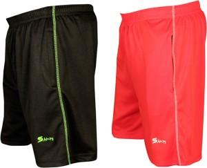 sampy Solid Men & Women Black, Red Sports Shorts, Basic Shorts, Gym Shorts, Night Shorts, Cycling Shorts, Running Shorts