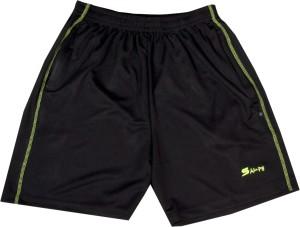 sampy Solid Men & Women Black Sports Shorts, Gym Shorts, Cycling Shorts, Running Shorts