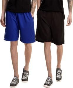 Dee Mannequin Solid Men's Blue, Black Basic Shorts