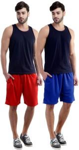 Dee Mannequin Self Design Men's Red, Blue Sports Shorts