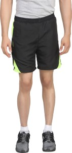 Trendy Trotters Solid Men's Black Sports Shorts