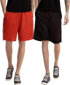 Dee Mannequin Solid Men's Red, Black Basic Shorts