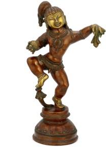 ea12b155168 Collectible India Antique Finish Brass Dancing Krishna Statue Large Hindu  God Idol Temple Sculpture Showpiece -