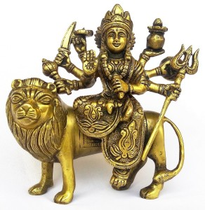 50dcf5a69b3 Kartique Ma Durga Sitting On Lion with Trishul   Kalash Showpiece - 15 cm