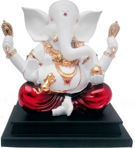 Tofa Ganesha Idol Showpiece 12 Cm Silver Plated Silver White Best