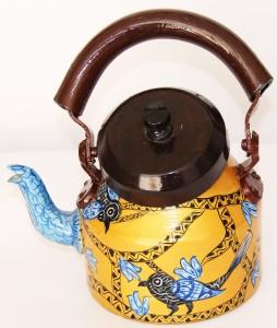 Sr Crafts Bird Designed Decorative Aluminum Tea Kettle Hand Painted