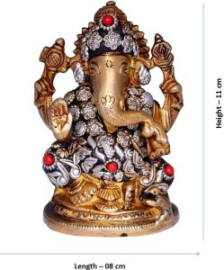 Purpledip Hindu Religious God Vinayak/Ganesha/Ganpati Statue: Sculpted In  Pure Solid Brass With Unique Copper Finish & Metal Beadwork For Home  Temple,