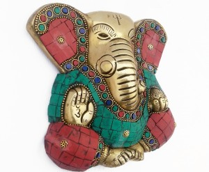 471cf025b4a Kartique Turquoise decorated Ganesha entrance charm  Door   Wall Hanging  Showpiece - 15 cmBrass