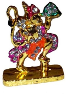 4ae0a11d5478 VASTUGHAR Shree Bajarang Bali Statue Golden Finished With Jerkin Diamonds  For Your Car Showpiece - (