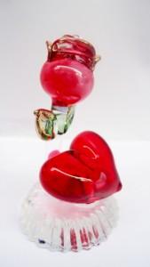 200ed0100 Glass Street Kali Dil Showpiece - 4 cm ( Glass Red )