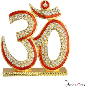 Divine Gifts & Artificial Jewellery Om Stone With Red Diamonds Prince Small Showpiece  -  6.5 cm