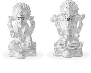Taraash 999 Silver Combo Of Shree Ganeshji And Maa Lakshmi Idol GI1235F+GI1236F Showpiece  -  5.715 cm