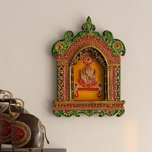 eCraftIndia Lord Ganesha Papier-Mache Wall Hanging Showpiece - 43 cmWooden,  Paper Mache, Green, Yellow, Red