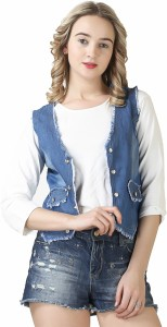 Ela collection Sleeveless Solid Women's Denim Jacket