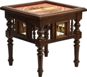 Exclusivelane Teak Wood Solid Wood Bedside Table Finish Color Walnut